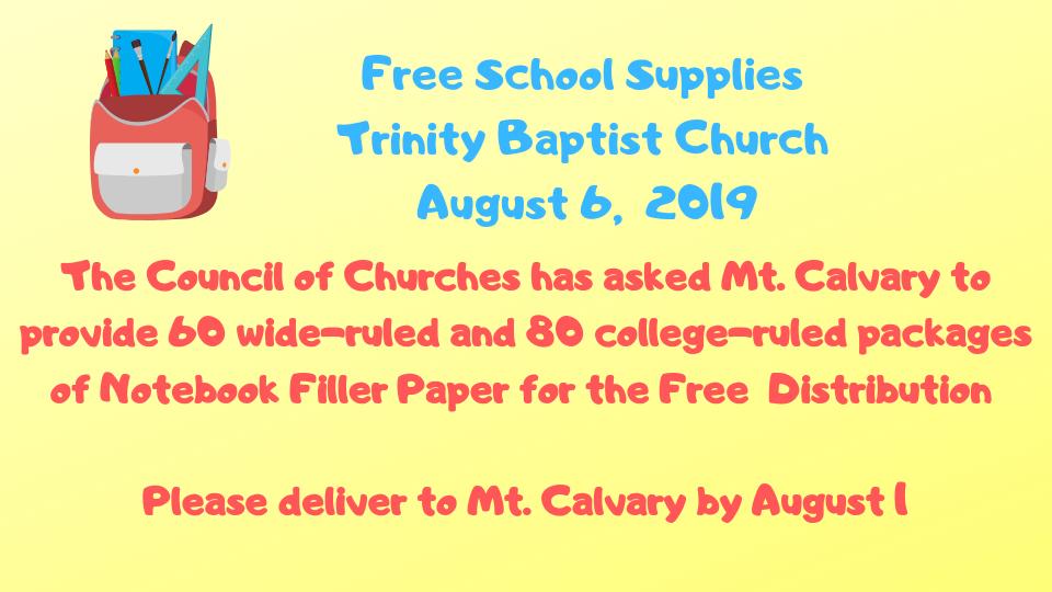 Free School Supplies | Mt  Calvary Lutheran Church